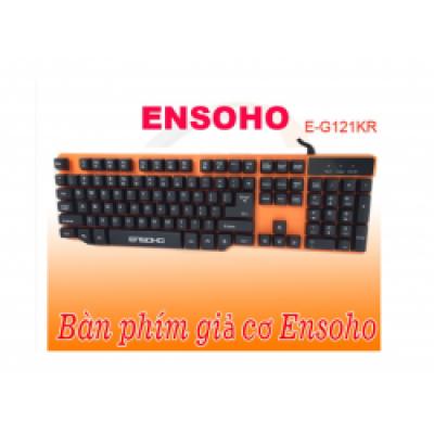 Bàn phím giả cơ có dây ENSOHO E-G121KF ( ko led, nền màu cam, keycap màu đen )