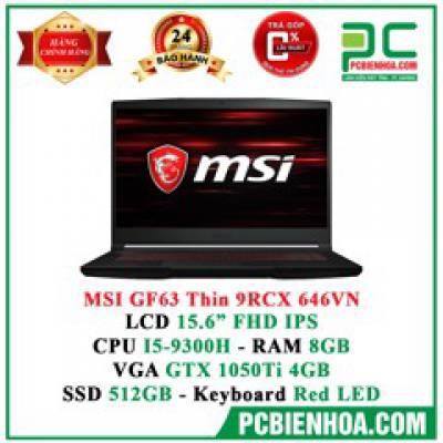 Laptop Gaming MSI GF63 Thin 9RC-646VN